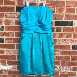 Aqua David's Bridal Strapless Midi Dress